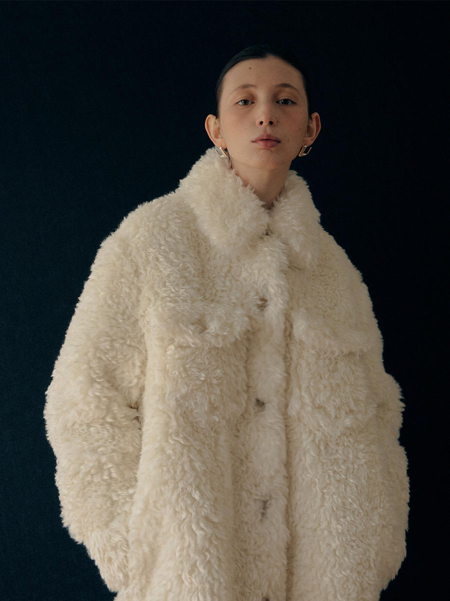 IVORY SELLA SHIRT ECO FUR JACKET